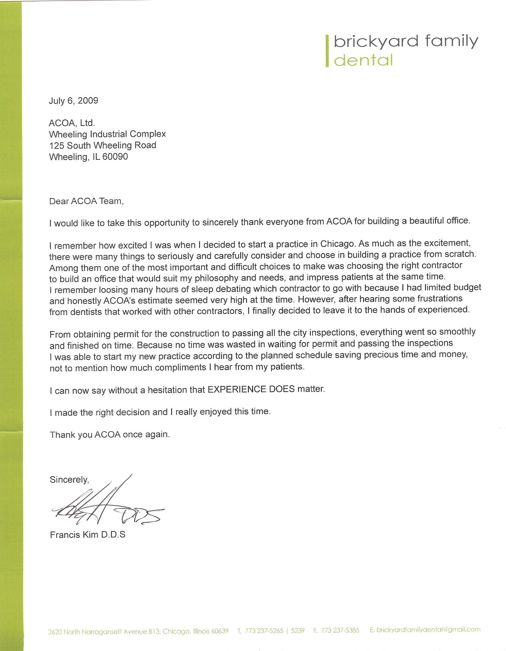 Dr Kim reference letter