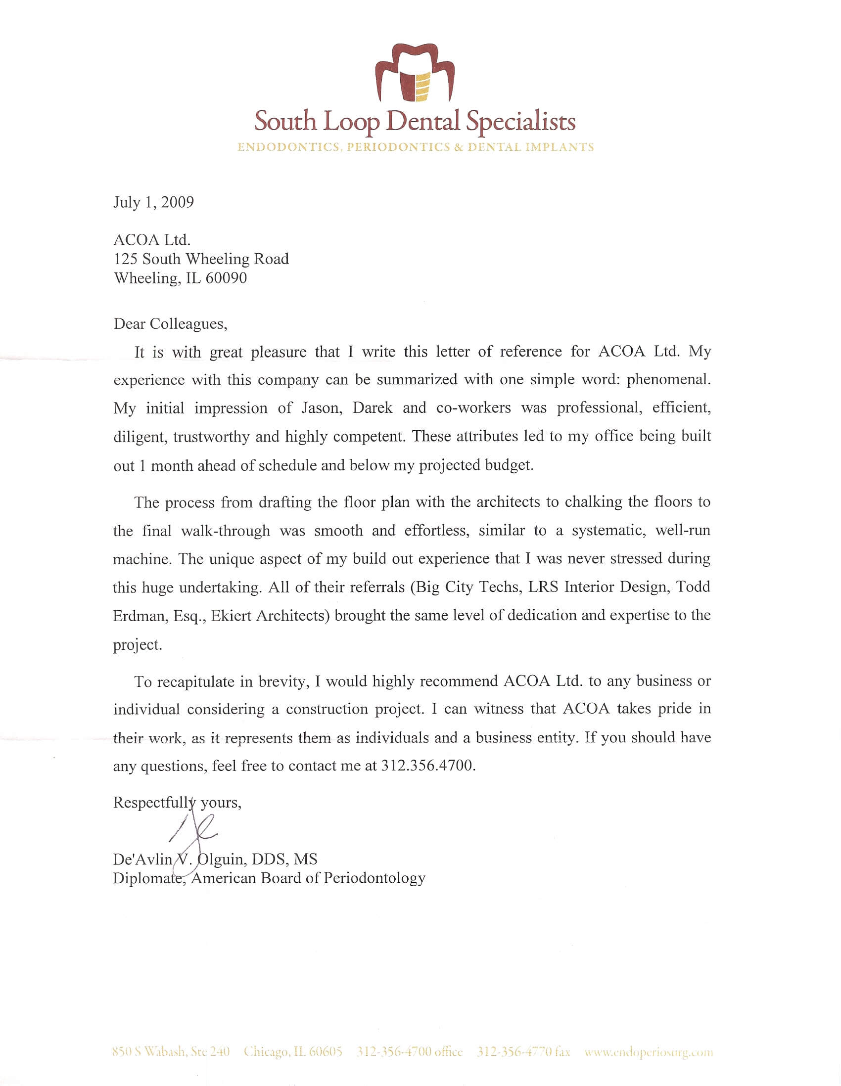Dr Olguin and Dr Flowers reference letter